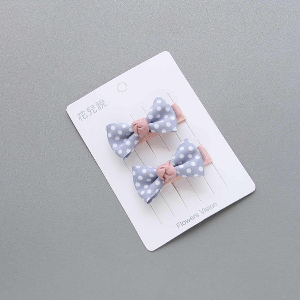 2 ชิ้น/ล็อตออกแบบใหม่เด็กสาวน่ารักคลิปผม Headwear Bow Dot Hairpins Elastic Hairband BB คลิปเด็กอุปกรณ์เสริมผม