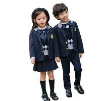 Children Students School Uniforms Suit Sets Boys Girls British Style Blazer Shirts Pants 3pcs Outfits Kids Performance Costume