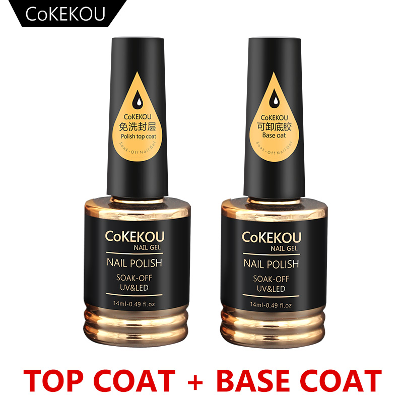 CoKEKOU Nuevo esmalte en gel para uñas Soak Off UV Tempering Top Coat + Base Coat Gel Matte top Polish Larga duración 14ml Nail Gel Laca