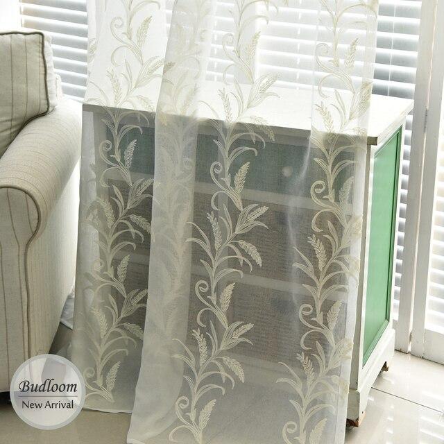 Moderne Pastoralen Steinschmätzer Besticktem Tüll Vorhänge Für Wohnzimmer  Weiß Blau Braun Sheer Fenster Vorhänge Für Schlafzimmer