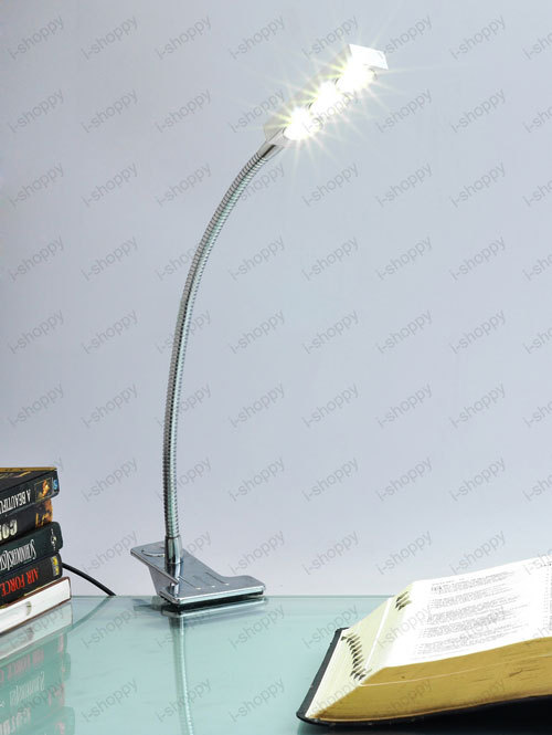 3W 3*1W LED Bedside Desk Reading Lamp Clamp Clip Office Study Light Bulb on/off switch Flexible New