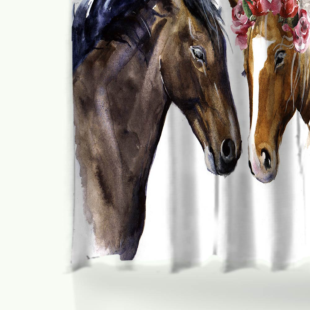 Miracille Creative Horses Pattern Shower Curtain Sets Bedroom ...