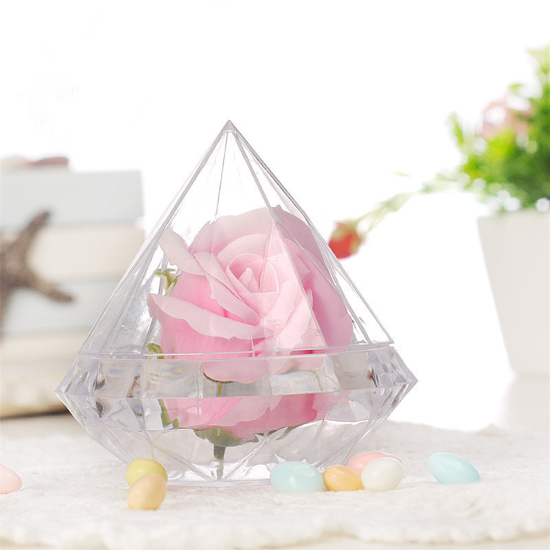 40pcs Acrylic Wedding Candy Box Clear Plastic Diamond Packaging Box For Wedding Gifts Party Candy Holders Banquet Giveaways
