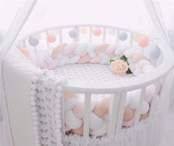 3 M 4 Lagen Knoten Handmade Baby Bett Stoßstange Lange Verknotet Geflecht Weben Plüsch Baby Krippe Protector Kind Kissen Baby bett Dekor