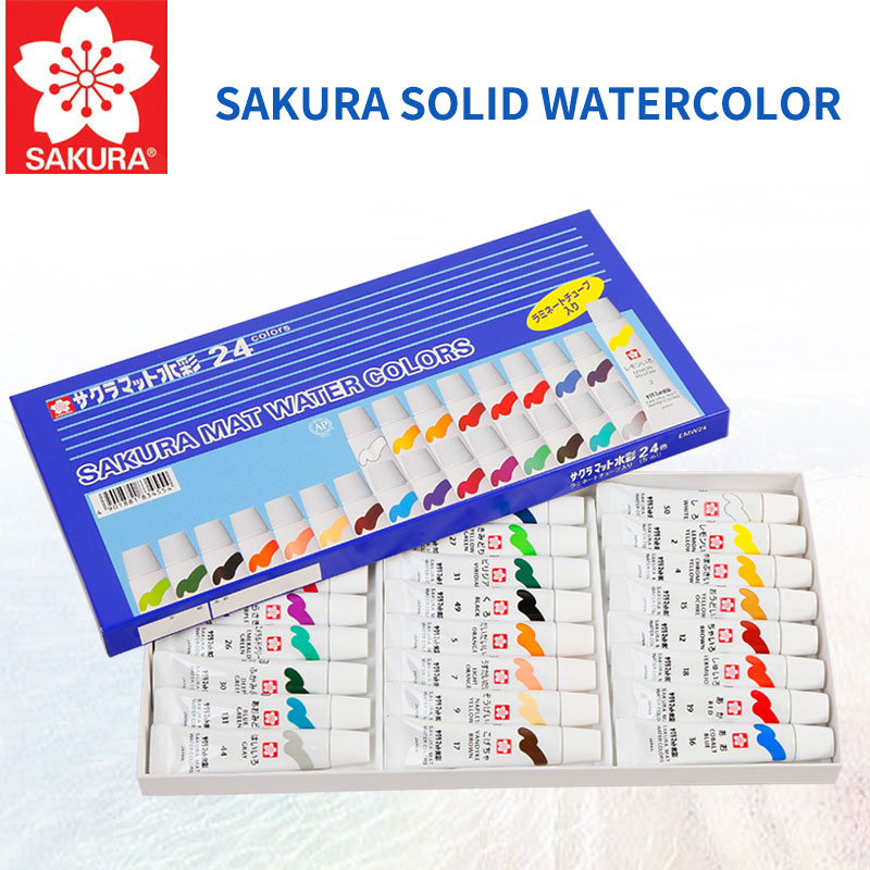 Sakura 12/15/18/24Colors Water Color Paint High Quality Transparent Watercolor Pigment For Outdoor Drawing Painting Art Supplies watercolor solid pigment paint set 24 colors with a separate palette and a water painting brush for art drawing