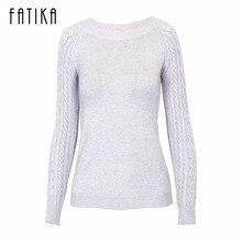Fatika зима Для женщин с длинным рукавом Повседневное кашемир Пуловеры для женщин Женский Любовник Мода одноцветное тянуть роковой вязаный свитер