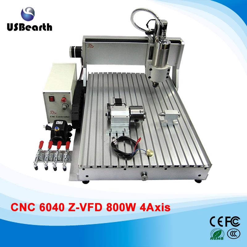 Mini 4 axis cnc milling machine 6040 with 800w spindle motor, for metal wood acrylic, Russia free tax купить
