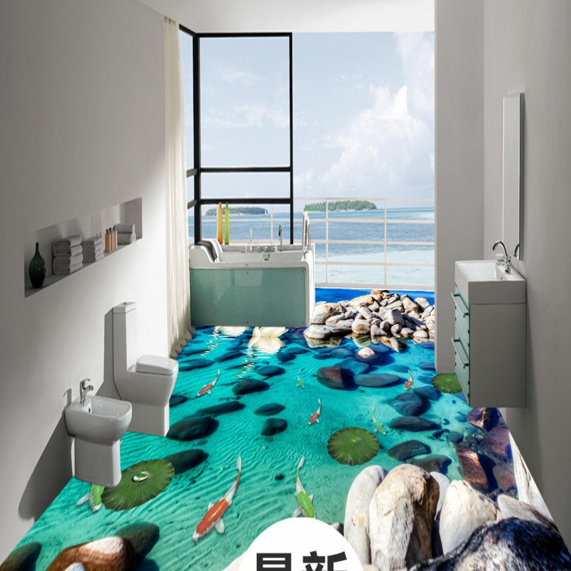 Free Shipping 3d pond fish picture Koi flooring stickers non-slip waterproof thickened bathroom study living room flooring mural free shipping realistic large pond carp floor 3d wear non slip thickened kitchen living room bathroom flooring wallpaper mural