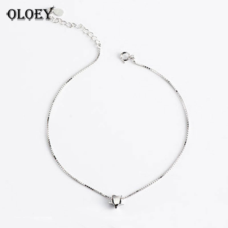 Initiative Oloey 100% Real 925 Sterling Silver Box Chain Star Charm Foot Jewelry Anklet For Women Girls Leg Bracelet Fine Jewelry Yma028 2019 Latest Style Online Sale 50% Jewelry & Accessories