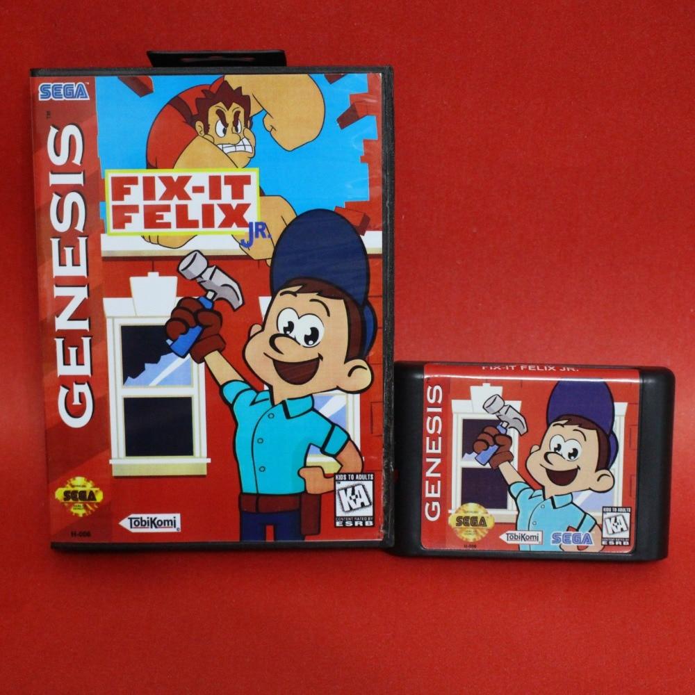 5fae63b915a Fix It Felix Jr 16 bit MD card with box for Sega MegaDrive Video Game  console system