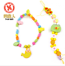 wooden diy beaded jewelry watches threading puzzle early childhood fine motor training three years old