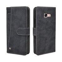 Luxe Wallet Case Voor Samsung Galaxy A3 A5 A7 2017 A8 A8 + Plus 2018 Case Vintage Flip Lederen TPU siliconen Cover Card Slots
