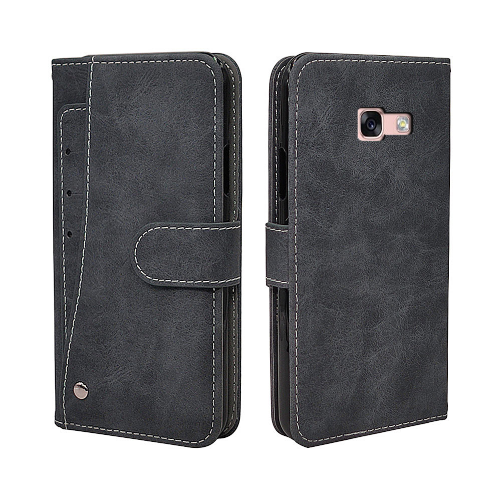 Luxury Wallet Case For <font><b>Samsung</b></font> Galaxy A3 A5 <font><b>A7</b></font> <font><b>2017</b></font> A8 A8+ Plus 2018 Case Vintage <font><b>Flip</b></font> Leather TPU Silicone Cover Card Slots image