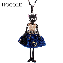 цена на HOCOLE Fashion Lovely Doll Necklace Charm Dress Cat Face Long Chain Pendant Necklaces Jewelry for Women Accessories Bijoux Gifts