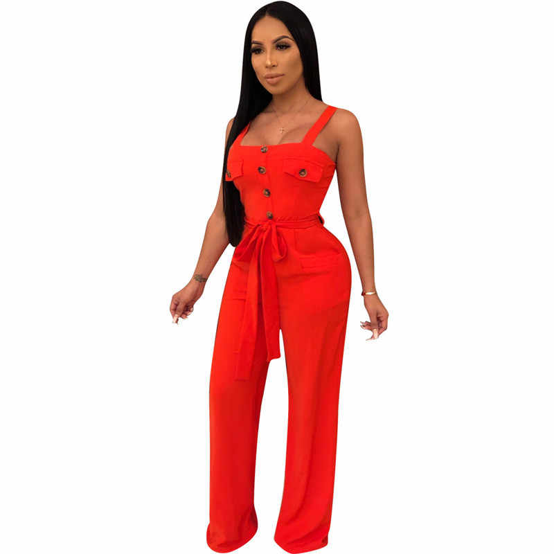 e2f9550ab99ac Yellow Summer Jumpsuits for Women Rompers Sexy Sleeveless Backless Button  Casual Wide Leg Pants Loose Overalls Pockets Sashes