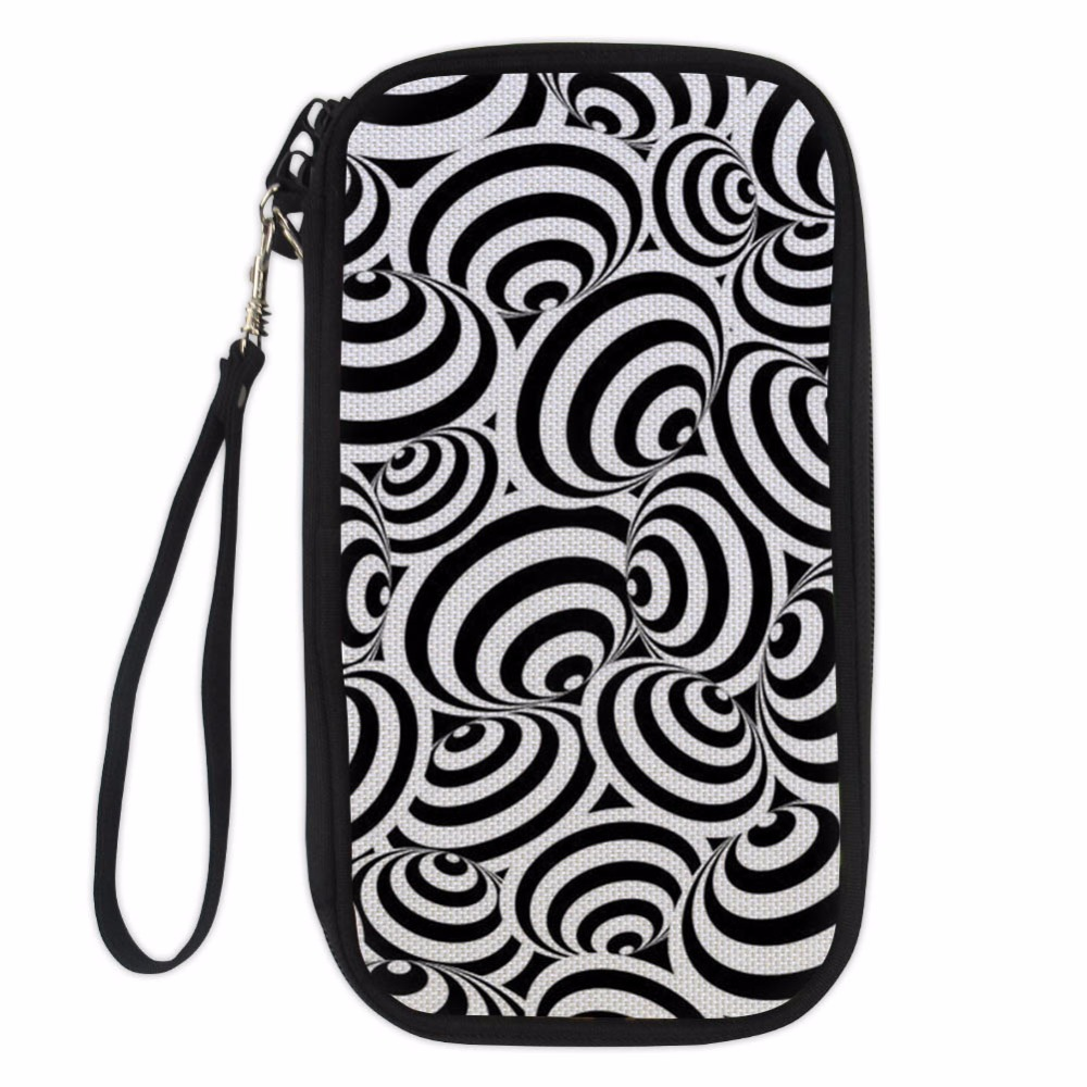 Noisydesigns Travel Passport Wallet Hand Holding Bag Black and white texture Multifunction Credit Card Package ID Holder Storage