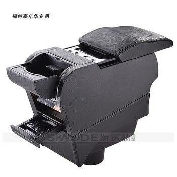 ฟรีหมัดไม้puหนังกล่องเท้าแขนรถพิเศษมี4 USBหลุมสำหรับFordFiestaรถมือกล่อง