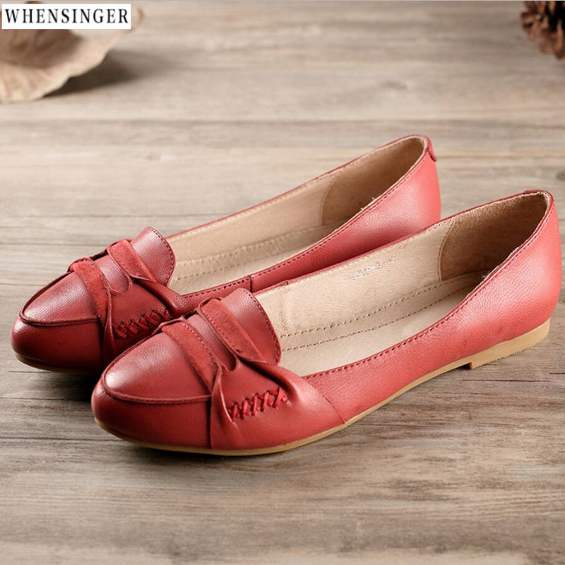 spring and summer Whensinger - Women Flat Shoes loafers Genuine Leather Casual Flats Shoe Comfortable Driving shoes 2018 new summer casual genuine leather hollow flat shoes green black women shoes comfortable and breathable hole shoes obuv