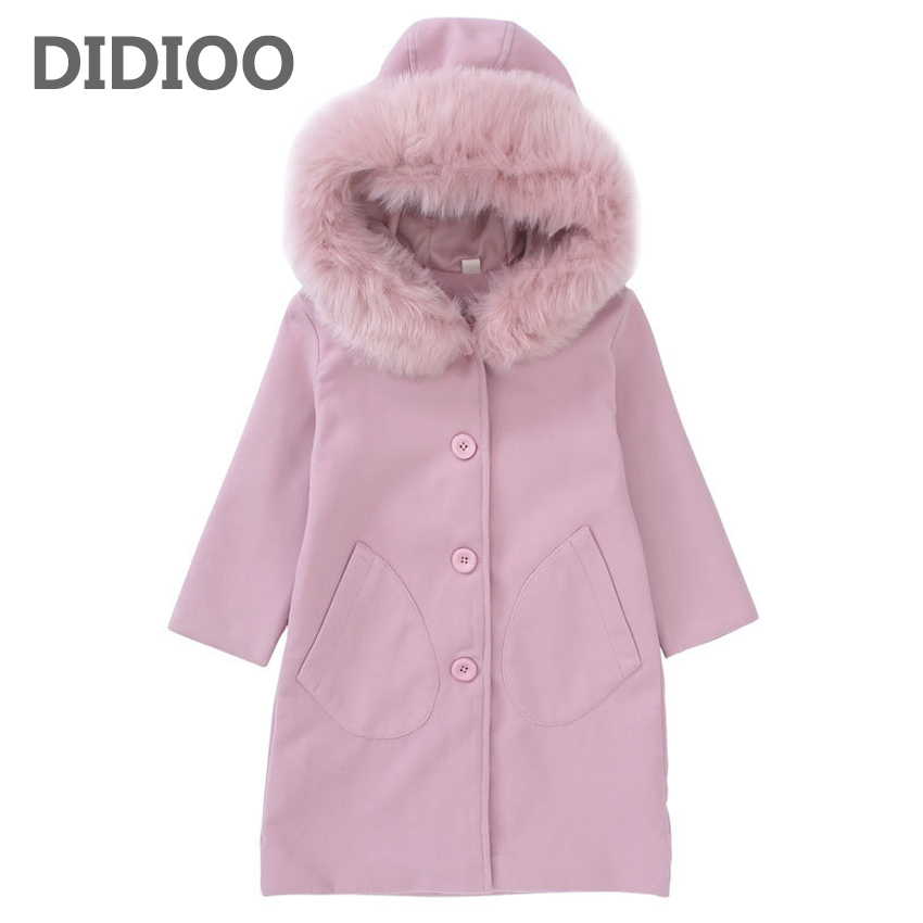 Kids Coats for Girls Single Breasted Trench Child Wool & Blends Outerwear Infant Fluffy Coats 10 12 Years Girls Fur Collar Coats
