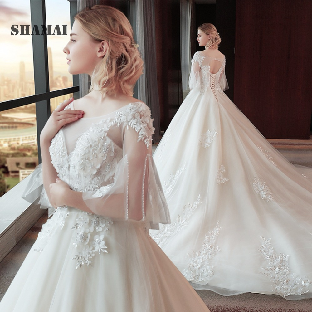 Lace Wedding Gown Designer: SHAMAI New Design Lace Appliques Flowers Beading Wedding