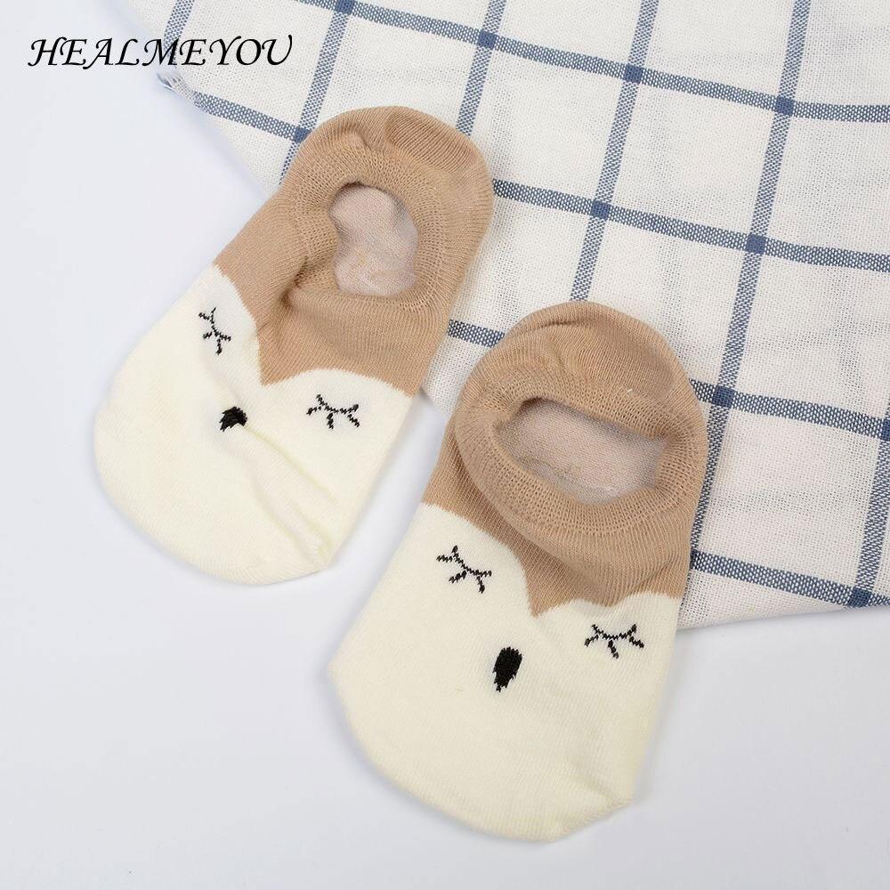1 Paar Damen Füchse Baumwolle Unsichtbare Rutschfeste Silikon Flachen Boot Socke Mode