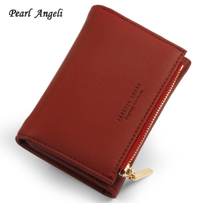 Pearl Angeli Women Wallets Female Purses Card Holders Handle Purse Interior Coin Zipper Pocket Short Wallet Women Girls Pink Red Кошелёк