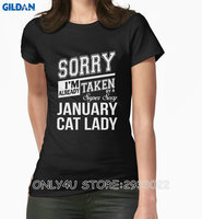 Only4U T Shirt Summer Cotton Women'S Print Crew Neck I'M Already Taken By A Super Sexy January Cat Lady Shirt
