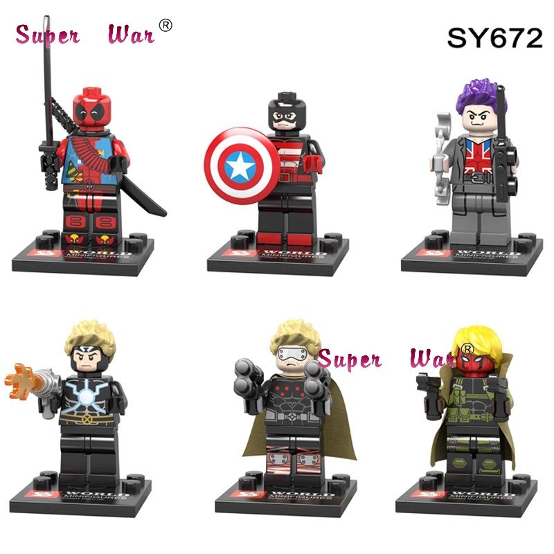 Amicable 6pcs Star Wars Superhero Ninja Motorcycle Deadpool Spider-man Iron Man Thor Duck Building Blocks Model Bricks Toys For Children Toys & Hobbies Model Building