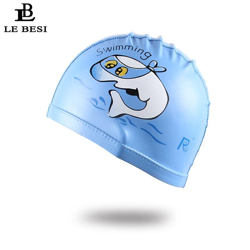 LEBESI 2017 Childrens Elastic Waterproof PU Fabric Junior Cap Sports Swim Pool Hat Swimming Cap Free size for Children ...