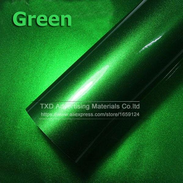 Премиум качество 10/20/30/40/50/60X152 см/лот красный металлик глянцевый блеск обертывание наклейка для автомобиля обертывание s глянцевые конфеты золото виниловая пленка - Название цвета: green