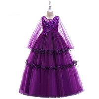 Retail Drop Ship Burgoundy Ankle Length Flowers Applique Girls Party Dress Tiers Wedding Holiday Birthday Teenagers dress