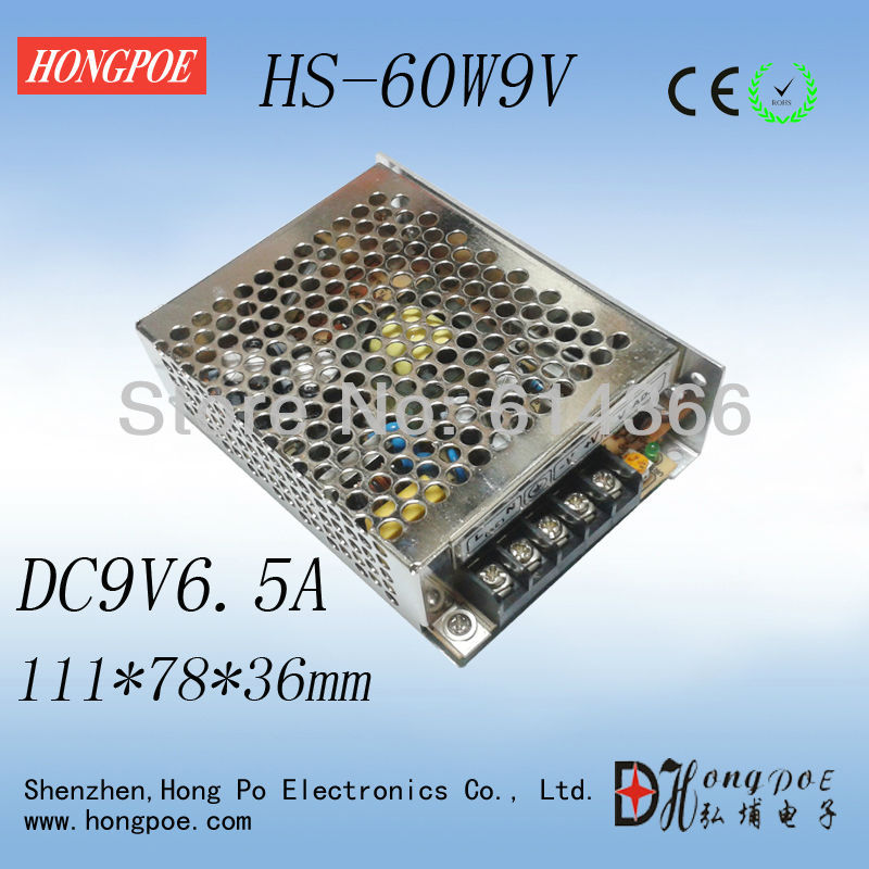 Best quality 9V 6.5A 60W Switching Power Supply Driver for LED Strip AC 100-240V Input to DC 9V best quality 13 8v 58a 800w switching power supply driver for led strip ac 230v input to dc 13 8v free shipping