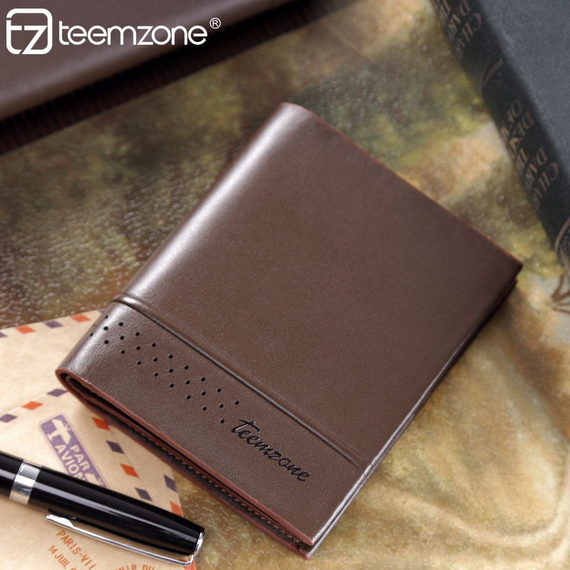 teemzone - Minimalist Bifold Thin Wallet Compact Design Slim Fashion Suit Insert Purse Men Leather Wallet Carteira Masculina J25