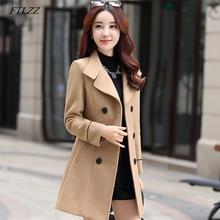 FTLZZ женское Шерстяное теплое длинное пальто осень зима размера плюс, женское приталенное шерстяное пальто с лацканами, кашемировая верхняя одежда