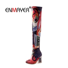 ENMAYER Women Over The Knee Boots Pointed Toe Winter Warm Fashion Boots High Heels Sexy Thin heels Plus Size 34-43 Flower CR1586 цены онлайн