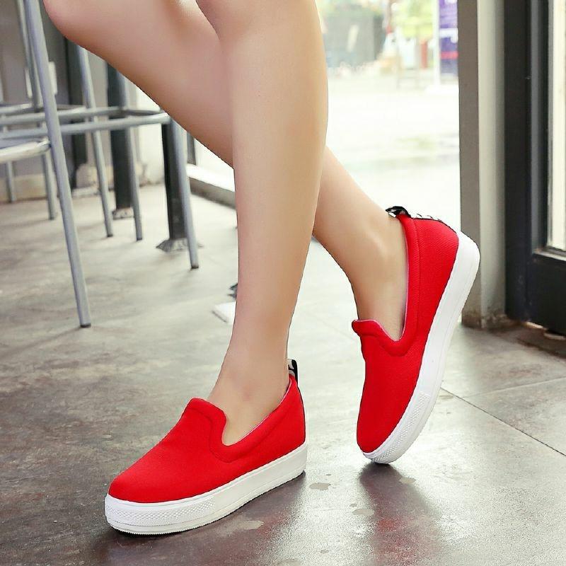 ФОТО 2016 Spring 4 Colors Women Shoes Concise Slugged Bottom Casual Shoes Big Size 30-44 Platform Flats