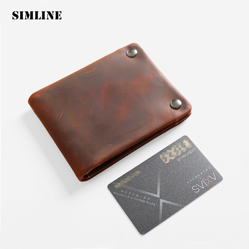 Vintage Genuine Crazy Horse Leather Cowhide Men Male Short Wallet Wallets Purse Card Holder Coin Pocket Zipper Carteira For Man williampolo mens zipper wallet genuine leather short purse cowhide card holder wallet coin pocket business wallets new year gift