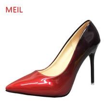 цена на Size 33-48 Black Gradient Color 10/7CM Women Pumps Sexy Pointed Toe Ladies Stiletto High Heels Patent Leather Women Party Shoes