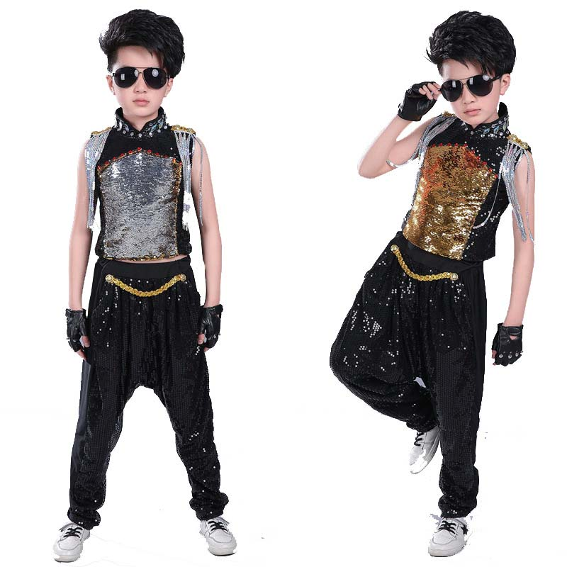 2019 Children Sequin Hip Hop Clothes For Girls Unisex Tank Tops Shirt Shorts Jazz Dance Costume Kids Ballroom Dancing Streetwear