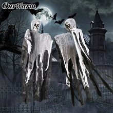 OurWarm Halloween Party DIY Supplies Hanging Ghost Decorations Haunted House Escape Horror Grim Reaper 100cm*60cm