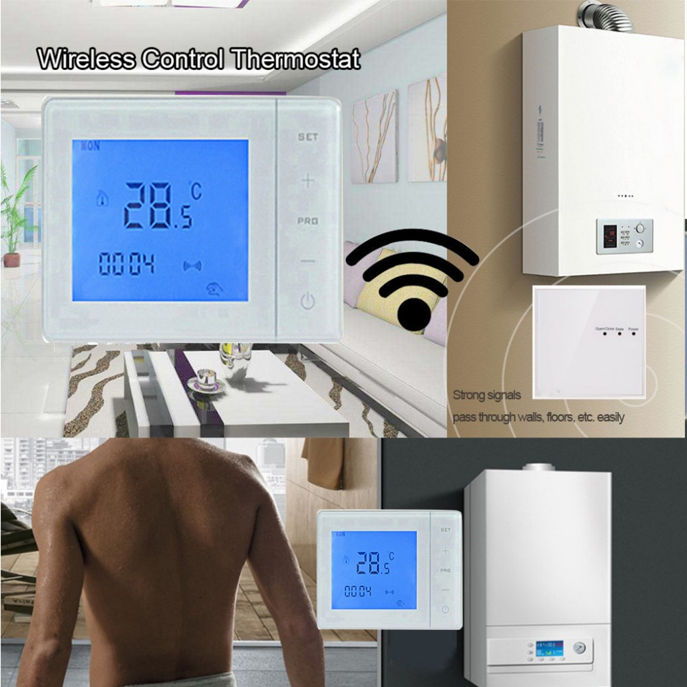 A Gas Boiler Wireless Thermostat RF Control 5A Thermostat Wall-Hung Boiler Heating Thermostat Digital LCD Temperature Controller