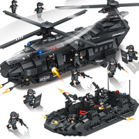 1351pcs Large Building Blocks Sets SWAT Team Transport Helicopter Compatible LegoINGLYS International Police Toys For Children