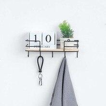 Iron Wood Wall Storage Rack And Iron Hanging Basket Multi-Function Hook Shelf