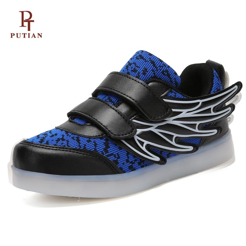 00878242f PU TIAN USB Asa de Carregamento Levou Crianças Sapatos Casuais ...