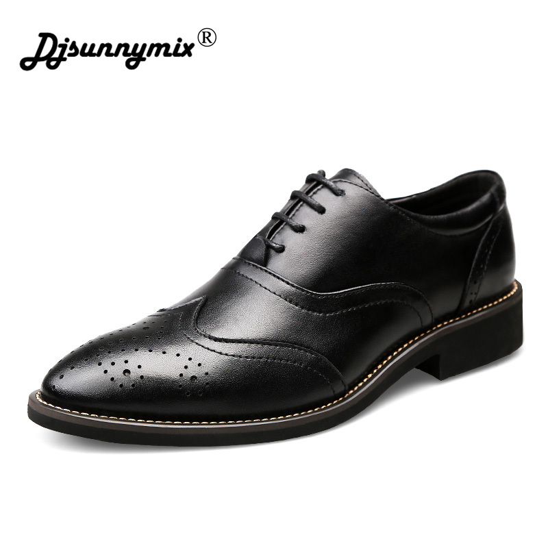 DJSUNNYMIX Men Formal Shoes Men Dress Shoes Brand Men Leather Shoes Men Classic Business Gentleman Plus Big Size 38-46