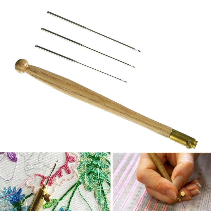 Tambour Crochet Hook with 3 Needles 70 90 100 Embroidery Tools Glitter Sequins Bead Needle Hooks Beading Embroidery Tool Kit