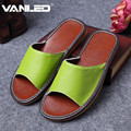 Hot Quality Genuine Leather Women's Slippers Non-slip for floor Home Slipper Shoes Anti-skid Spring/Summer/Autumn