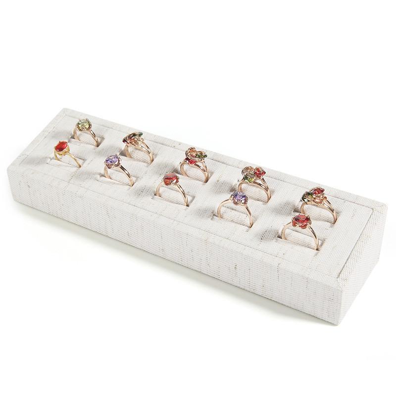 New Fashion White Linen Ring Display Tray Jewelry Display Tray Small Jewellry Display Tray
