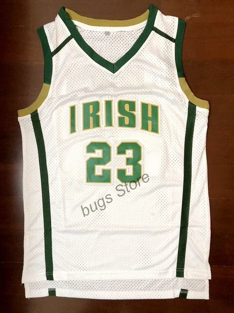 790cf866a89 EJ Lebron James #23 St Vincent St Mary Irish High School Stitched  Basketball Jersey White