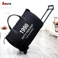 AMLETG New Hot Fashion Women's Luggage Trolley Luggage Bag Casual Roll Roll Folding Luggage Bag Travel Bag Wheels Luggage